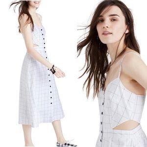 Madewell Windowpane Cut Out Midi Dress